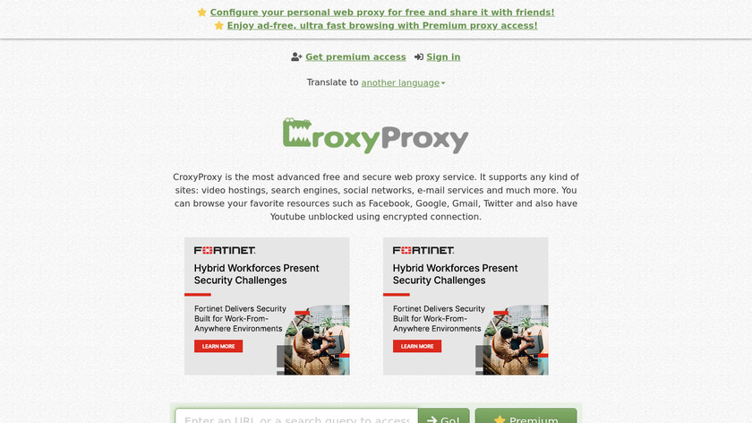 CroxyProxy Web Proxy Landing Page
