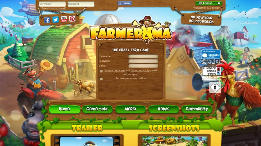 Farmerama Landing Page