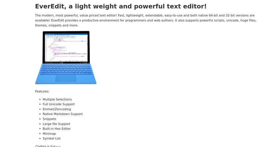 EverEdit Landing Page