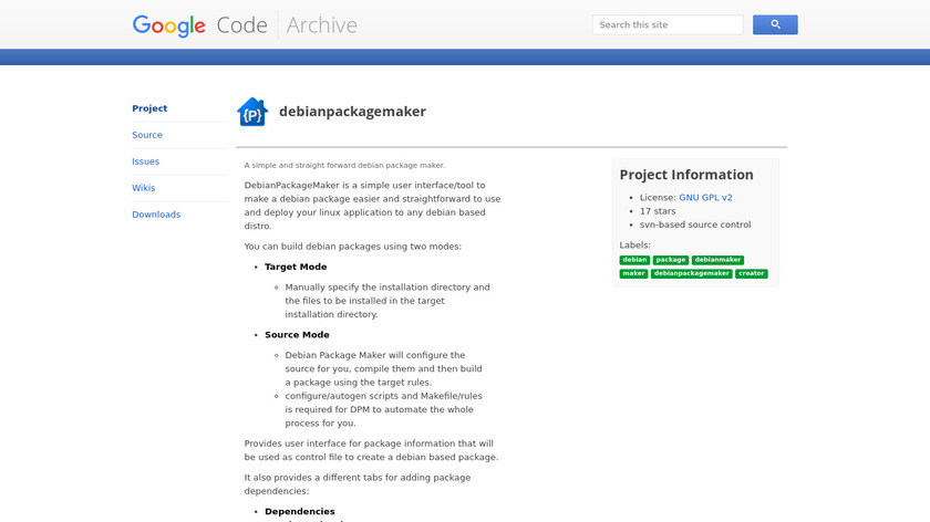 Debian Package Maker Landing Page
