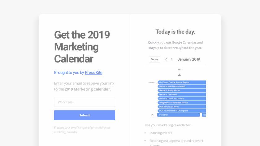 2019 Marketing Calendar Landing Page