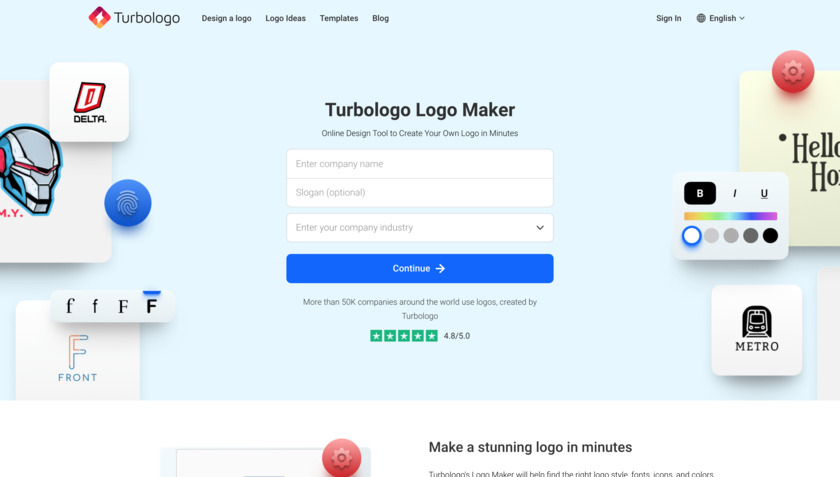 Turbologo Landing Page