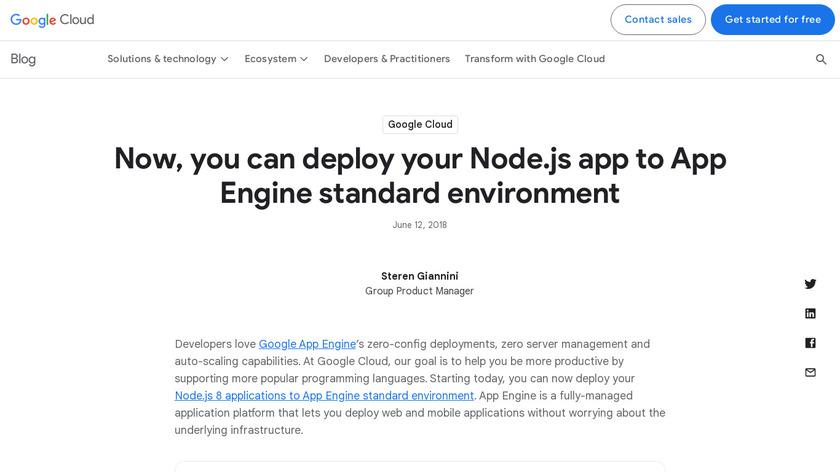 Node.js on App Engine Landing Page