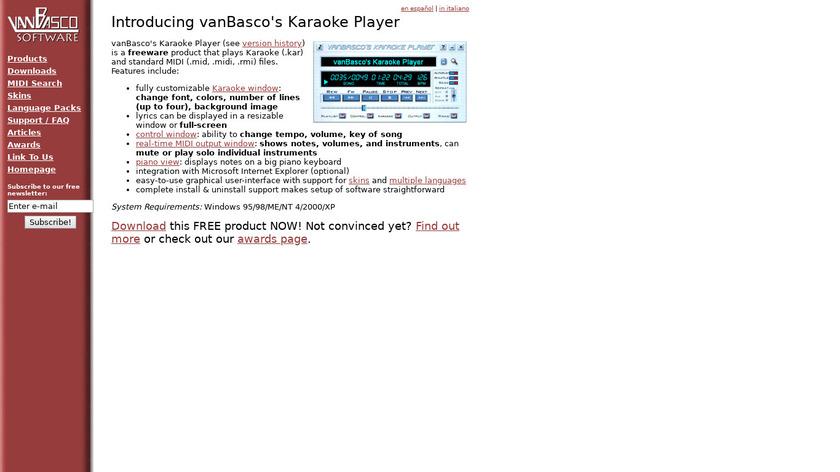 vanBasco's Karaoke Player Landing Page