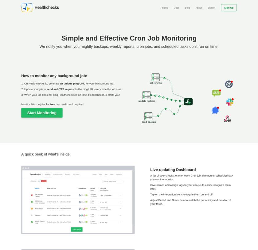Healthchecks.io Landing Page