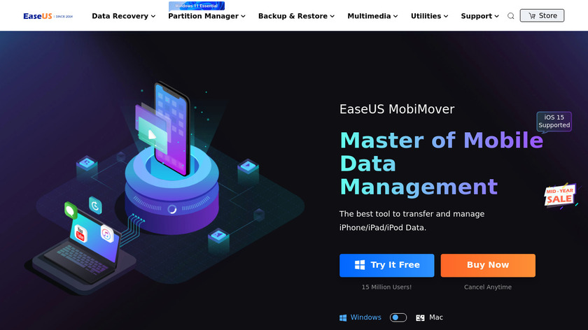 EaseUS MobiMover Landing Page