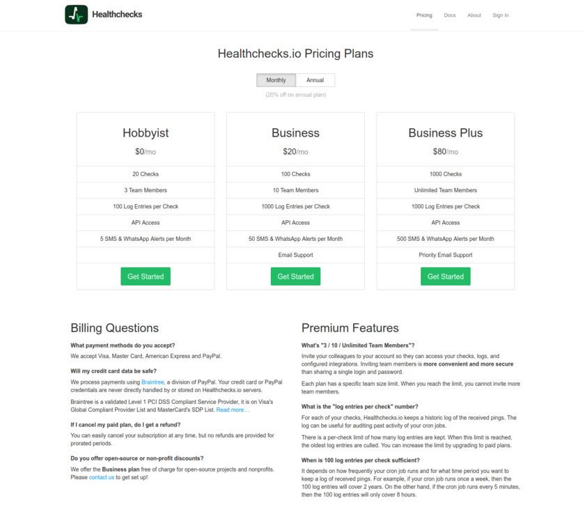 Healthchecks.io Pricing