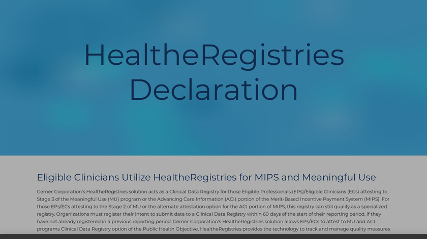 HealtheRegistries Landing Page