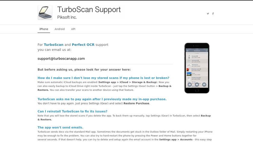 TurboScan Landing Page