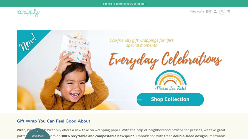 Wrappily Eco Gift Wrap Landing Page