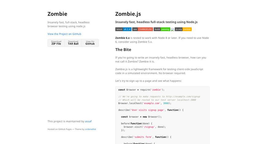Zombie.js Landing Page