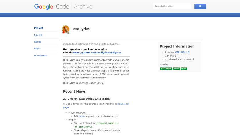 OSD Lyrics Landing Page