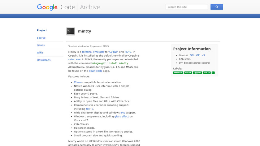mintty Landing Page