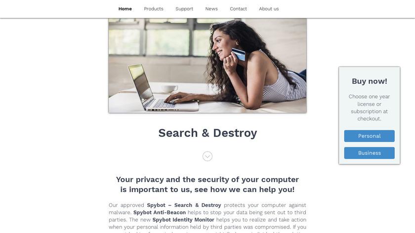 Spybot - Search & Destroy Landing Page