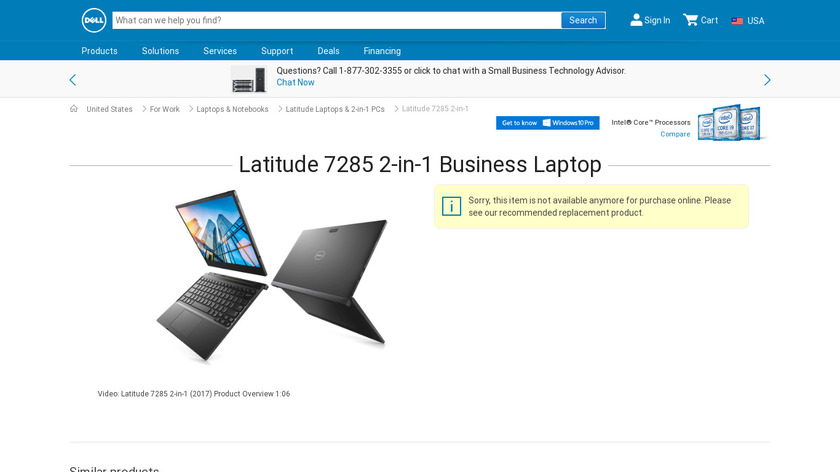 Dell Latitude 7285 Landing Page