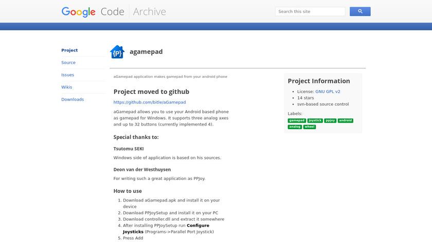 aGamepad Landing Page