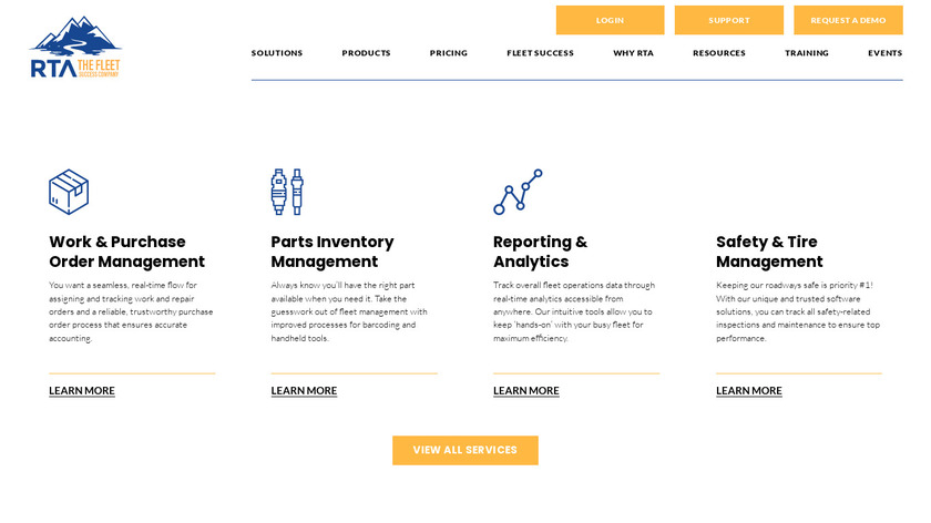 RTA Fleet Management Landing Page