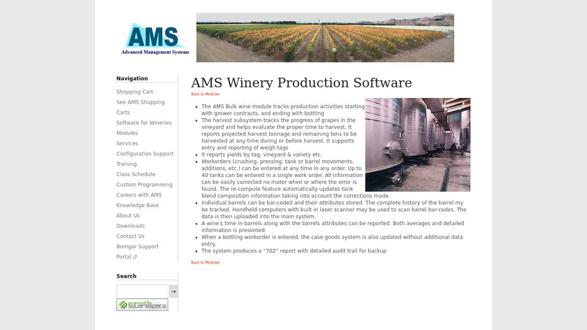 AMS Winery Production Software Landing Page