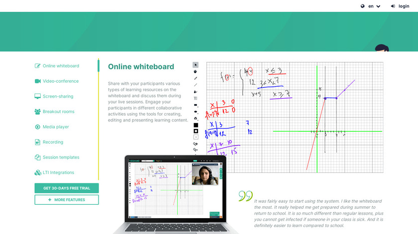 Vedamo Virtual Classroom Landing Page