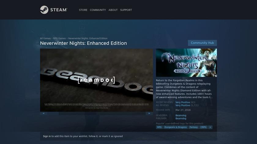 Neverwinter Nights Landing Page