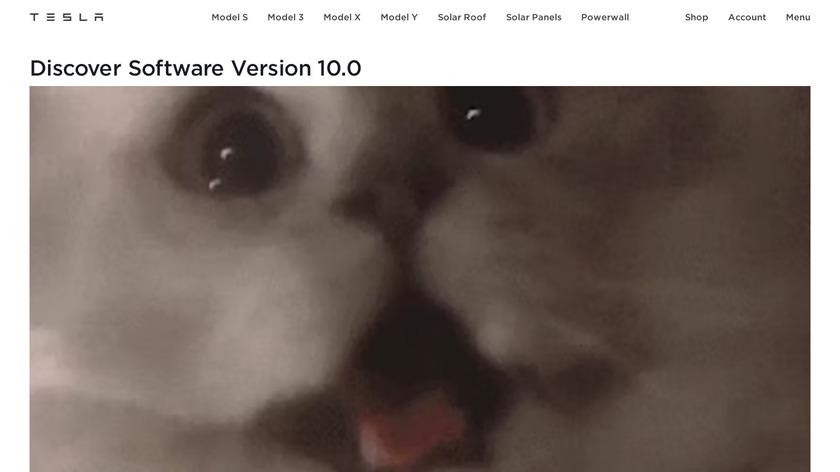 Tesla Software Version 10.0 Landing Page