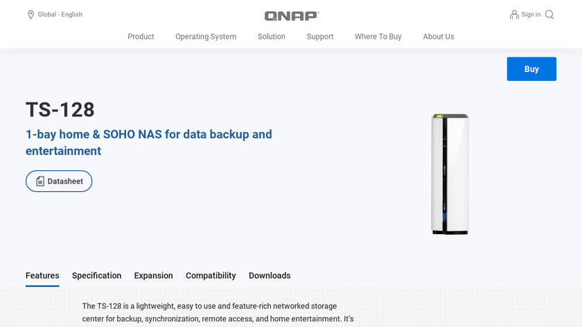 QNAP TS-128 Landing Page