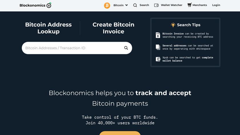 Blockonomics Landing Page