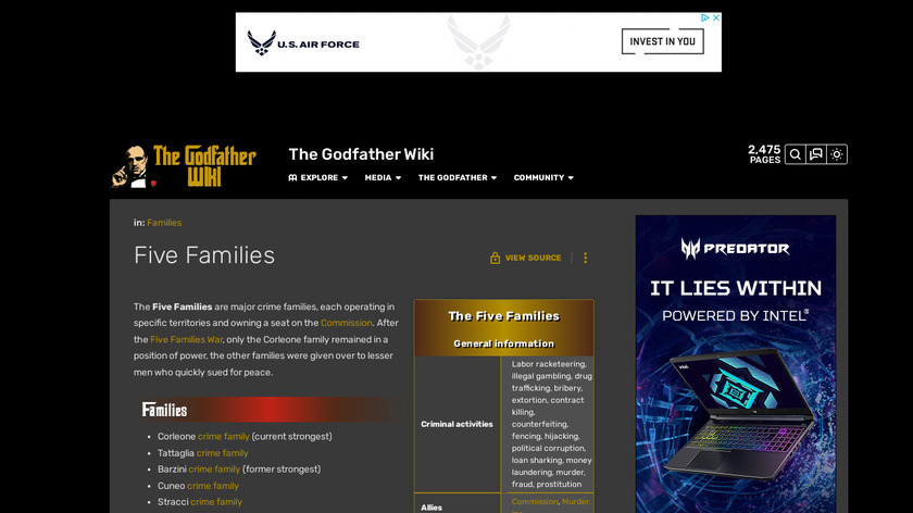 The Godfather Five Families Landing Page
