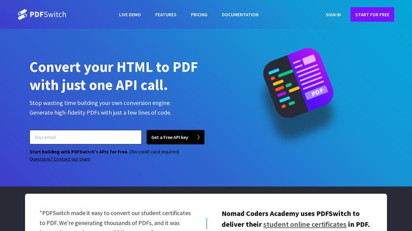 PDFSwitch Landing Page
