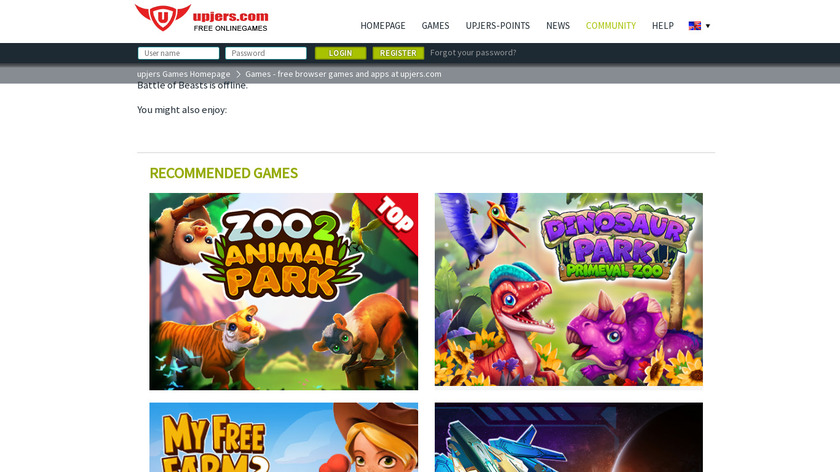 Battle of Beasts Landing Page