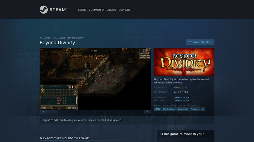 Beyond Divinity Landing Page