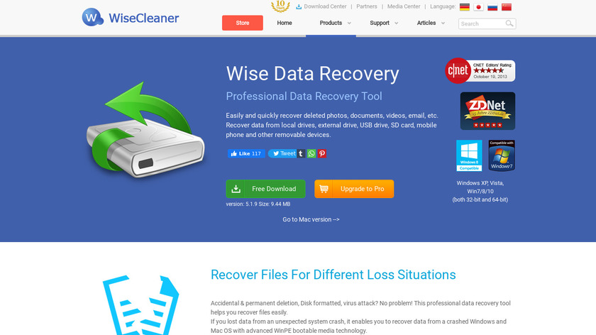 Wise Data Recovery Landing Page