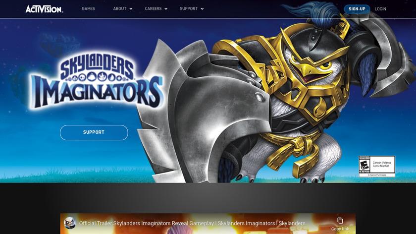 Skylanders Landing Page