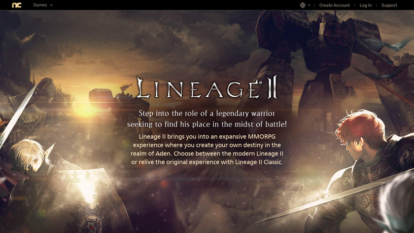 Lineage II Landing Page