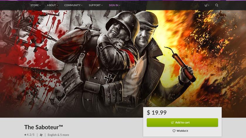 The Saboteur Landing Page