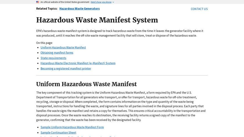 Waste Manifest Landing Page