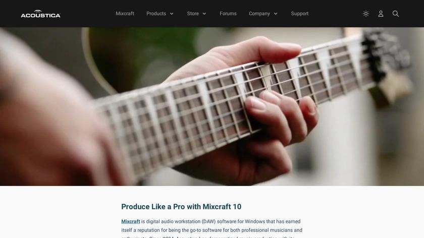 Acoustica Mixcraft 8 Pro Studio Landing Page
