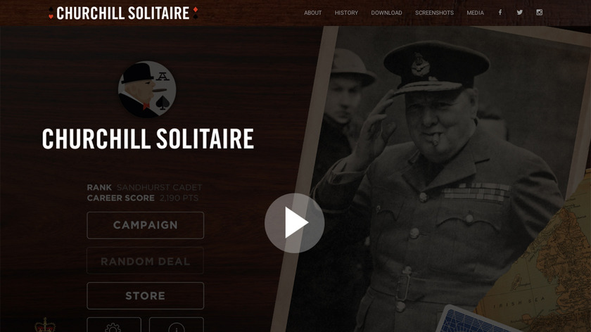 Churchill Solitaire Landing Page