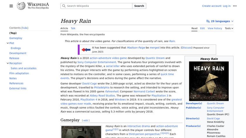 Heavy Rain Landing Page