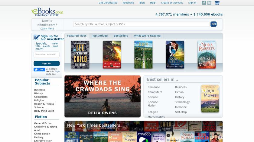 eBooks.com Landing Page
