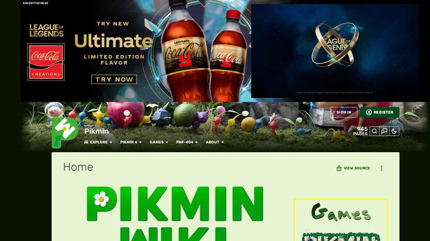 Pikmin Landing Page