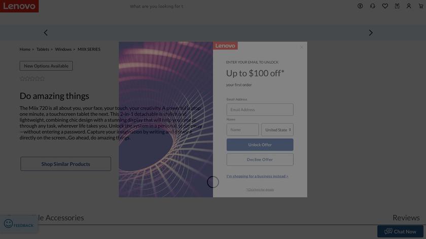 Lenovo Miix 720 Landing Page
