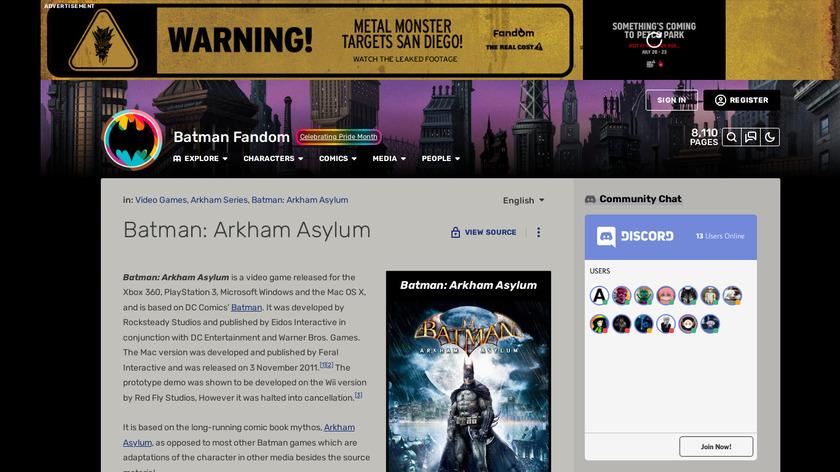 Batman: Arkham Asylum Landing Page