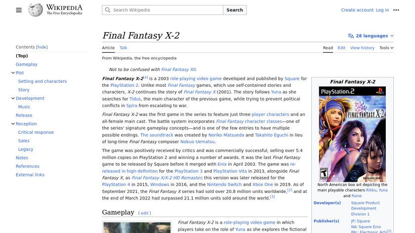 Final Fantasy X-2 Landing Page