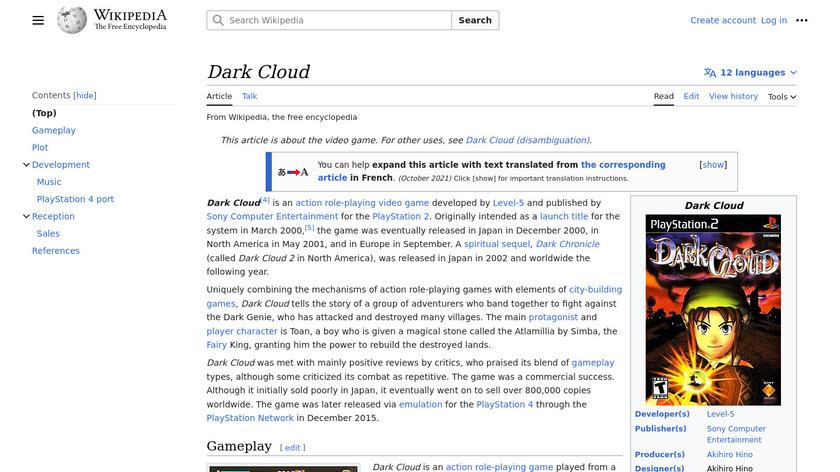 Dark Cloud Landing Page