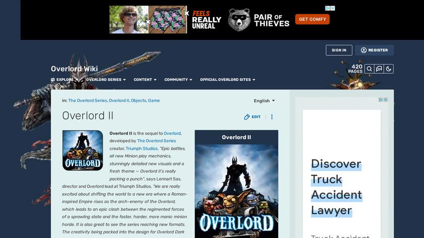 Overlord II Landing Page