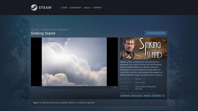 Sinking Island Landing Page