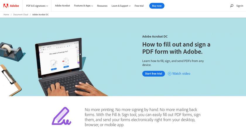 Adobe Fill & Sign Landing Page