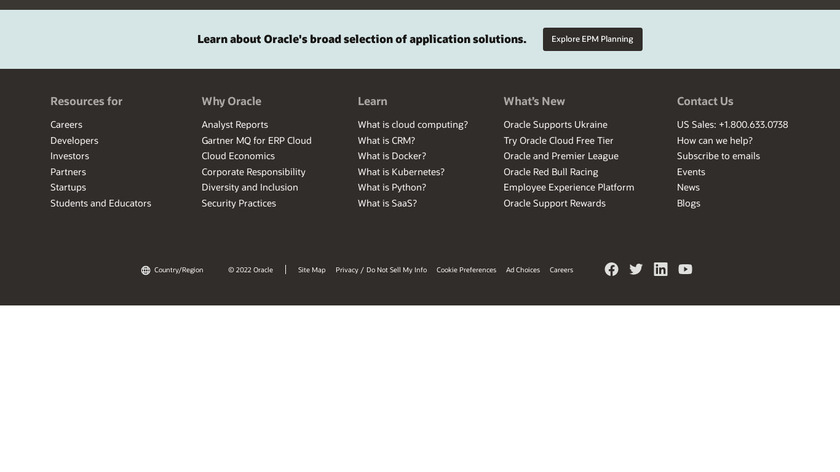 Oracle Hyperion Planning Landing Page