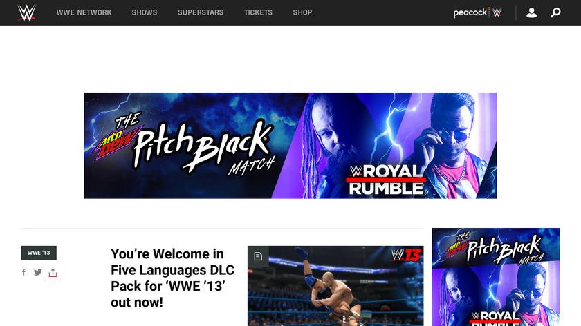WWE '13 Landing Page